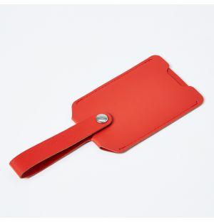 Étiquette à bagage en cuir recyclé rouge