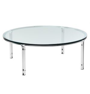 Table basse chrome et verre HB – 110 cm