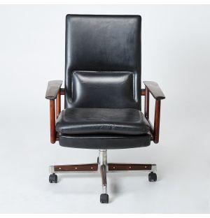 Fauteuil de bureau vintage en palissandre et cuir noir