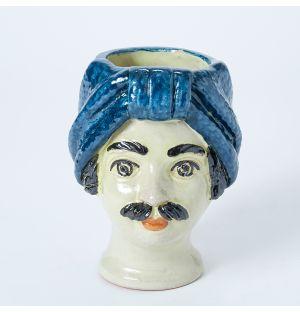 Vase bleu Visage d'homme - Small
