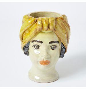 Vase jaune  Visage de femme - Small
