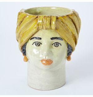 Vase jaune Visage de femme - Large