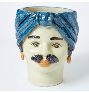 Vase bleu Visage d'homme - Large