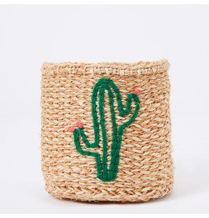 Panier en sisal brodé Cactus