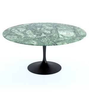 Table ronde Tulip en marbre Verde Alpi - base noire