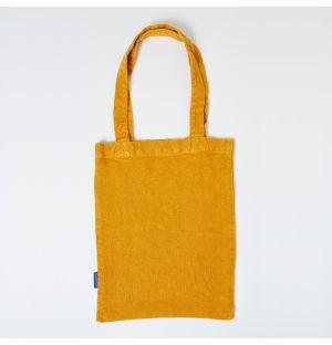 Mini cabas en lin jaune