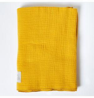 Couverture en mousseline de coton ocre