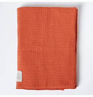 Couverture en mousseline de coton rouille