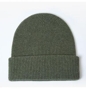 Bonnet côtelé en cachemire vert