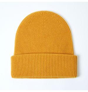 Bonnet côtelé en cachemire jaune