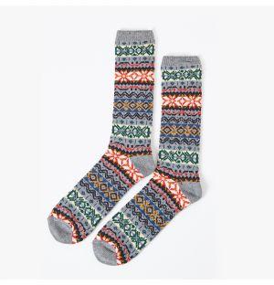 Chaussettes grises en coton à motifs colorés
