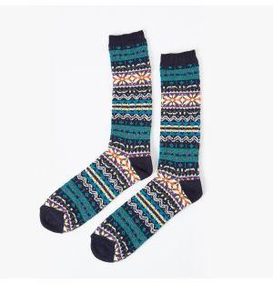 Chaussettes bleues en coton à motifs colorés
