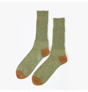 Chaussettes en coton vertes et ocre