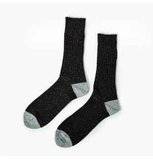Chaussettes en coton noir et gris