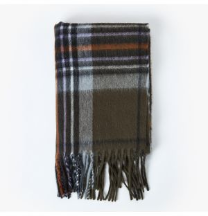 Écharpe Venturi  en laine d'agneau et angora - kaki