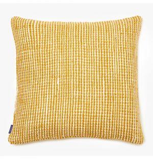 Housse de coussin en coton tressé jaune - 50 x 50 cm