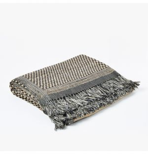 Plaid noir et blanc en laine et en soie