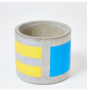 Cache-pot en béton jaune et bleu - Medium