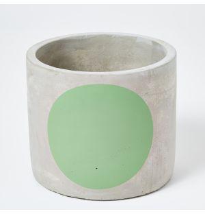 Cache-pot en béton gris et vert - Grand