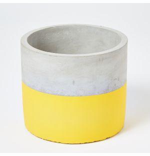 Cache-pot en béton gris et vert - Large