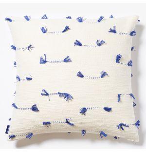 Housse de coussin à coutures bleues - 50 x 50 cm