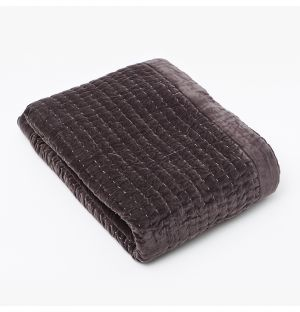 Plaid en velours gris matelassé - 150 x 200 cm