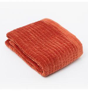 Plaid en velours rouge matelassé - 150 x 200 cm