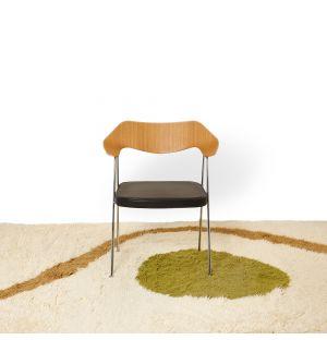 Tapis Ikigai en laine ocre et vert 170 x 240 cm