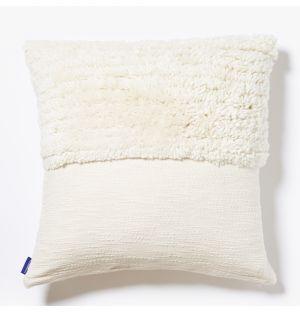 Housse de coussin Katachi blanche en lin et coton