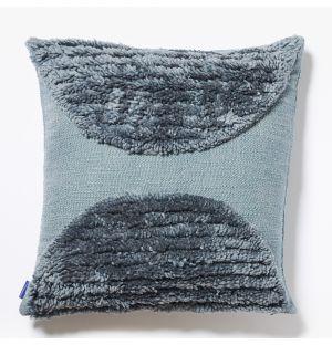 Housse de coussin Katachi bleue en lin et coton