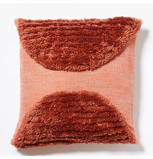 Housse de coussin Katachi rouge en lin et coton