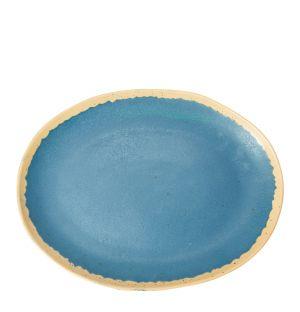 Plat ovale en grès Speckle bleu