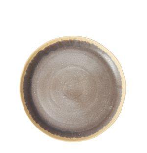 Plat rond en grès Speckle gris argent