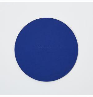 Dessous de verre rond en cuir recyclé bleu Conran