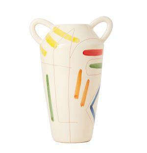 Vase Sgraffito jaune et rouge - 28 cm