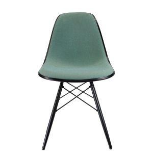 Chaise DSW Plastic Side tissu Hopsak vert menthe - piètement érable noir - Modèle d'exposition