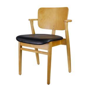 Chaise Domus en chêne et cuir noir - Modèle d'exposition