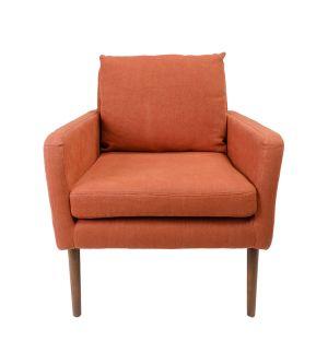 Fauteuil Newman en lin orange - Modèle d'exposition