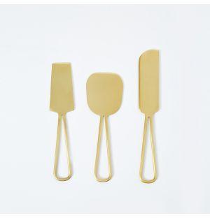 Set de 3 couteaux à fromages en laiton