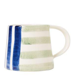 Mug en faïence bleu et vert