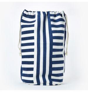 Sac à linge en coton bleu marine