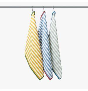 Ensemble de 3 torchons en coton - jaune, bleu, vert