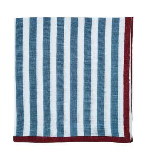 Serviette de table à rayures en lin bleu et bordeaux