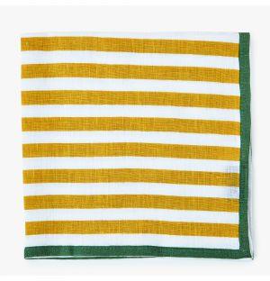 Serviette de table à rayures en lin jaune et vert
