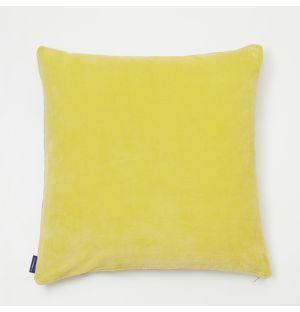Housse de coussin en velours jaune citron - 50 x 50 cm