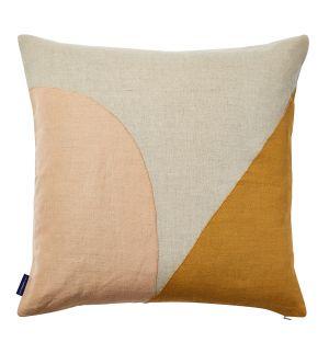 Housse de coussin en lin abricot à coutures géométriques - 45 x 45 cm