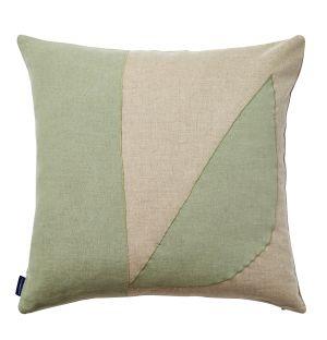 Housse de coussin en lin menthe à coutures géométriques - 45 x 45 cm