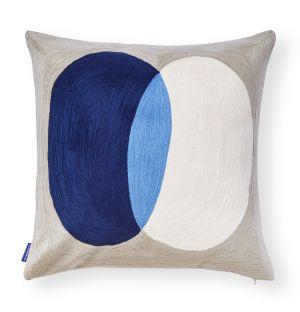 Housse de coussin brodée Crestone bleu roi - 50 x 50 cm