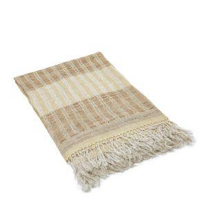 Jeté de lit en laine et en soie beige
