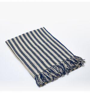 Jeté de lit en lin à rayures bleues